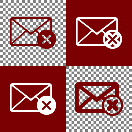 bordo: Mail sign illustration with cancel mark. Vector. Bordo and white icons and line icons on chess board with transparent background. Illustration
