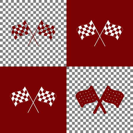 finishing: Crossed checkered flags logo waving in the wind conceptual of motor sport. Vector. Bordo and white icons and line icons on chess board with transparent background.