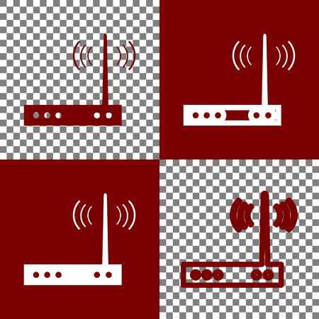 Wifi modem sign. Vector. Bordo and white icons and line icons on chess board with transparent background.