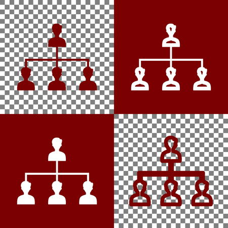 social gathering: Social media marketing sign. Vector. Bordo and white icons and line icons on chess board with transparent background.