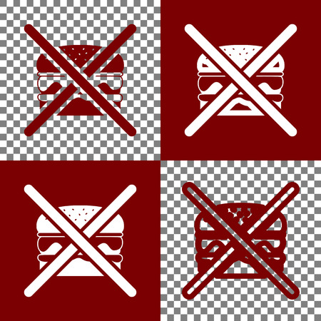 banned: No burger sign. Vector. Bordo and white icons and line icons on chess board with transparent background.