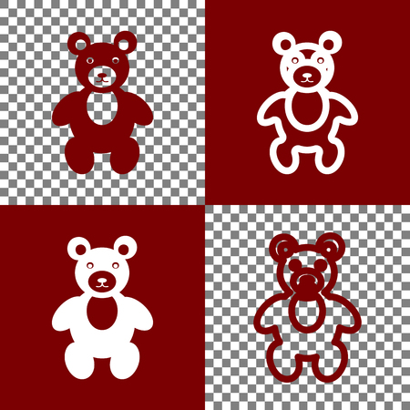 bordo: Teddy bear sign illustration. Vector. Bordo and white icons and line icons on chess board with transparent background.