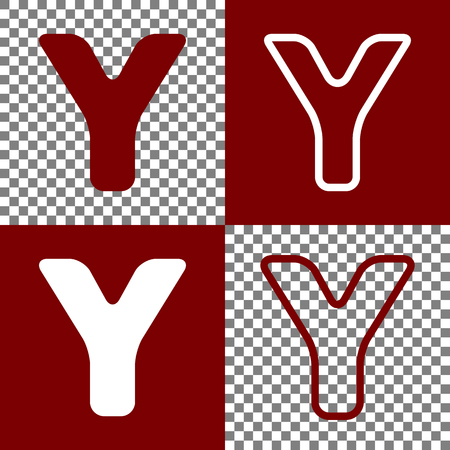 alphabetic character: Letter Y sign design template element. Vector. Bordo and white icons and line icons on chess board with transparent background.