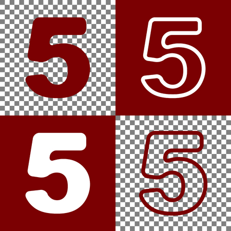 Number 5 sign design template element. Vector. Bordo and white icons and line icons on chess board with transparent background. Illustration