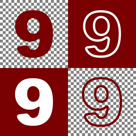 Number 9 sign design template element. Vector. Bordo and white icons and line icons on chess board with transparent background.