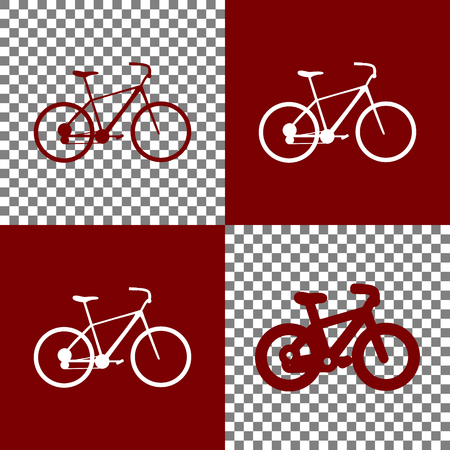 bordo: Bicycle, Bike sign. Vector. Bordo and white icons and line icons on chess board with transparent background.