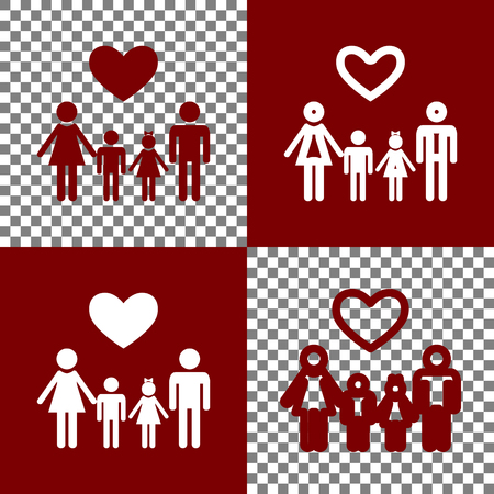 baby and mother: Family symbol with heart. Husband and wife are kept childrens hands. Vector. Bordo and white icons and line icons on chess board with transparent background.