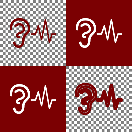 bordo: Ear hearing sound sign. Vector. Bordo and white icons and line icons on chess board with transparent background.