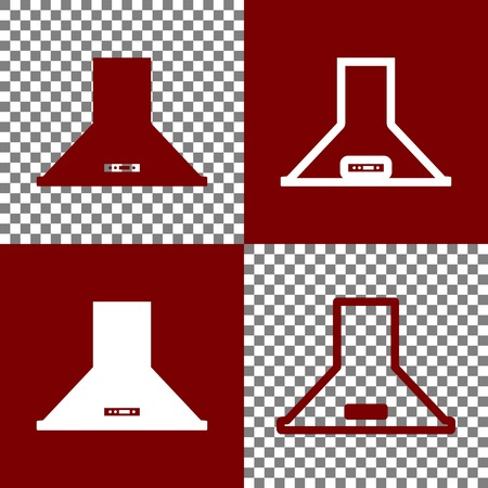 modern interior: Exhaust hood. Kitchen ventilation sign. Vector. Bordo and white icons and line icons on chess board with transparent background.