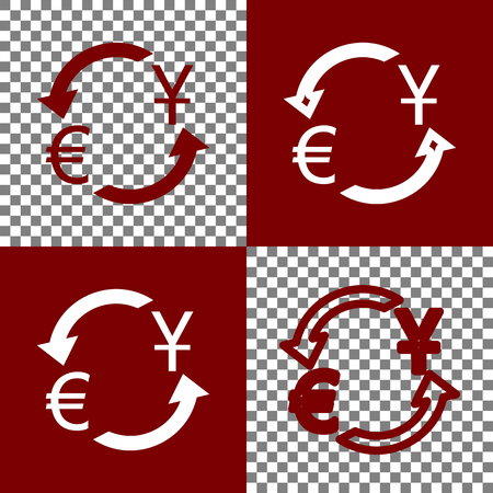 yen: Currency exchange sign. Dollar and Euro. Vector. Bordo and white icons and line icons on chess board with transparent background. Illustration