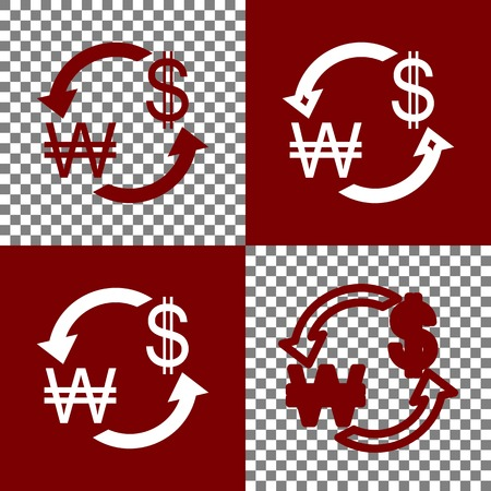 yen: Currency exchange sign. South Korea Won and US Dollar. Vector. Bordo and white icons and line icons on chess board with transparent background.