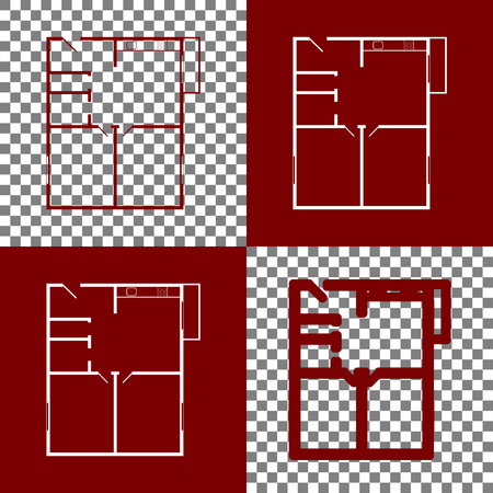 modern interior: Apartment house floor plans. Vector. Bordo and white icons and line icons on chess board with transparent background.