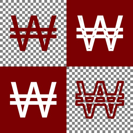 Won sign. Vector. Bordo and white icons and line icons on chess board with transparent background.