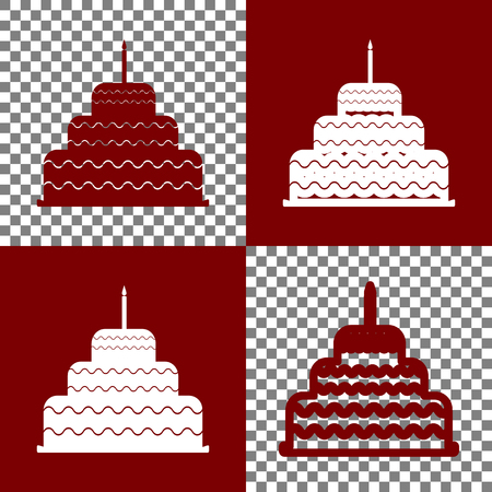 Cake with candle sign. Vector. Bordo and white icons and line icons on chess board with transparent background.