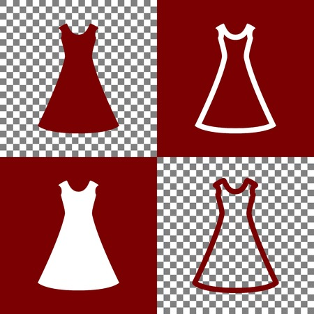 cor: Beautiful long dress sign. Vector. Bordo and white icons and line icons on chess board with transparent background.