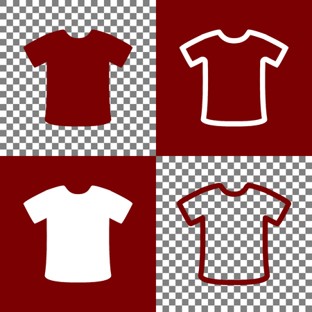 bordo: T-shirt sign. Vector. Bordo and white icons and line icons on chess board with transparent background. Illustration