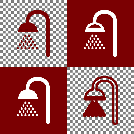 douche: Shower sign. Vector. Bordo and white icons and line icons on chess board with transparent background. Illustration