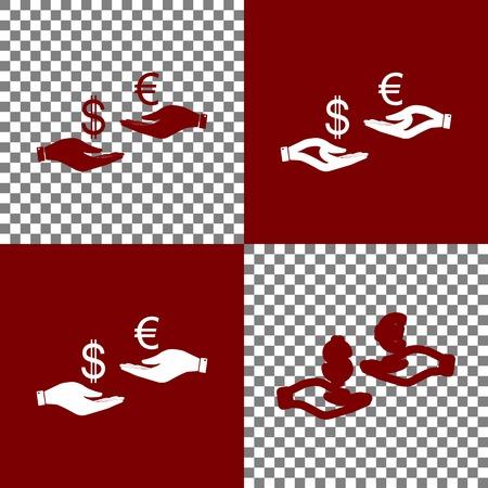Valutawissel van hand tot hand. Dollar en Euro. Vector. Bordo en witte pictogrammen en lijnpictogrammen op schaakbord met transparante achtergrond. Stockfoto - 80832880