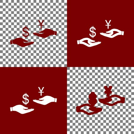 yen: Currency exchange from hand to hand. Dollar and Yuan. Vector. Bordo and white icons and line icons on chess board with transparent background.