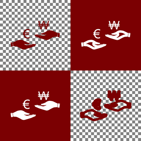 yen: Currency exchange from hand to hand. Euro and Won. Vector. Bordo and white icons and line icons on chess board with transparent background.