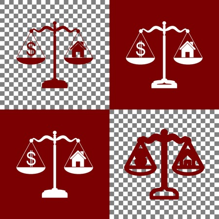 bordo: House and dollar symbol on scales. Vector. Bordo and white icons and line icons on chess board with transparent background.