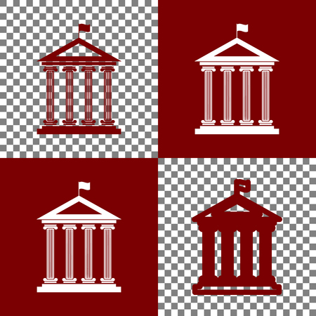 bordo: Historical building with flag. Vector. Bordo and white icons and line icons on chess board with transparent background. Illustration