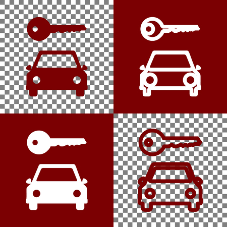 Car key simplistic sign. Vector. Bordo and white icons and line icons on chess board with transparent background.