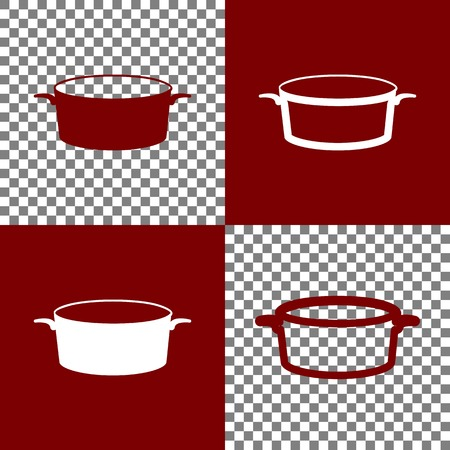 casserole: Pan sign. Vector. Bordo and white icons and line icons on chess board with transparent background. Illustration