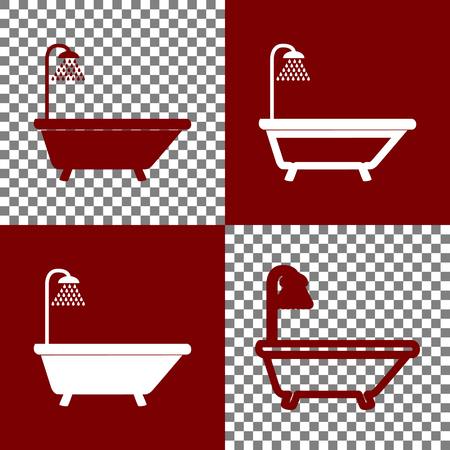 Bathtub sign. Vector. Bordo and white icons and line icons on chess board with transparent background. Ilustração