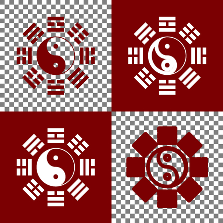 taiji: Yin and yang sign with bagua arrangement. Vector. Bordo and white icons and line icons on chess board with transparent background.