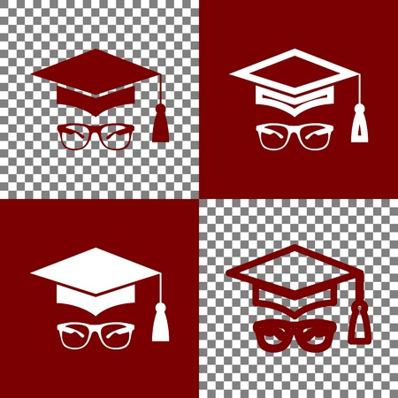 tutor: Mortar Board or Graduation Cap with glass. Vector. Bordo and white icons and line icons on chess board with transparent background. Illustration
