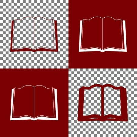 reader: Book sign. Vector. Bordo and white icons and line icons on chess board with transparent background.