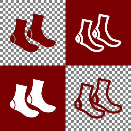 hosiery: Socks sign. Vector. Bordo and white icons and line icons on chess board with transparent background.