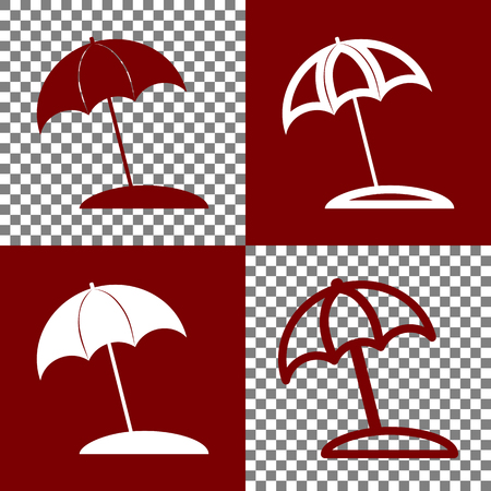 bordo: Umbrella and sun lounger sign. Vector. Bordo and white icons and line icons on chess board with transparent background.