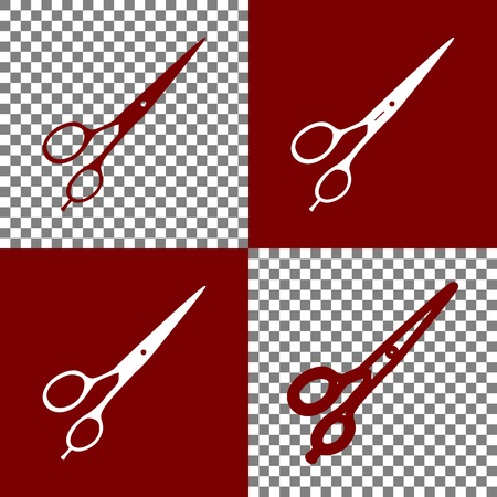 grooming: Hair cutting scissors sign. Vector. Bordo and white icons and line icons on chess board with transparent background.
