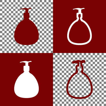 cleanliness: Gel, Foam Or Liquid Soap. Dispenser Pump Plastic Bottle silhouette. Vector. Bordo and white icons and line icons on chess board with transparent background.