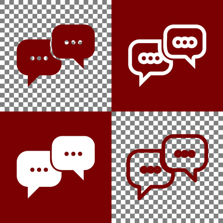 Speech bubbles sign. Vector. Bordo and white icons and line icons on chess board with transparent background.