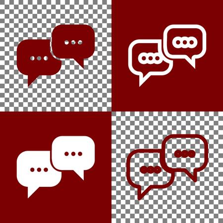Speech bubbles teken. Vector. Bordo en witte pictogrammen en lijnpictogrammen op schaakbord met transparante achtergrond.
