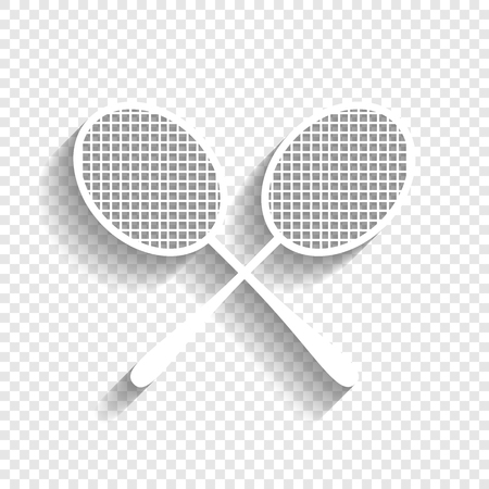 Two tennis racket sign. Vector. White icon with soft shadow on transparent background. Illustration