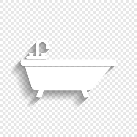 Bathtub sign illustration. Vector. White icon with soft shadow on transparent background.