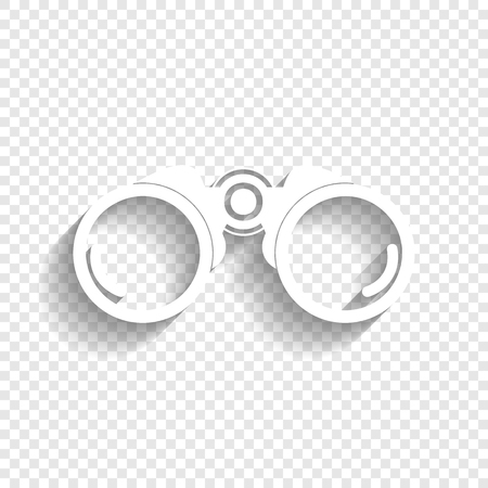 Binocular sign illustration. Vector. White icon with soft shadow on transparent background.