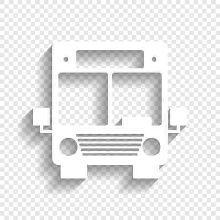 Bus teken illustratie. Vector. Wit pictogram met zachte schaduw op transparante achtergrond.
