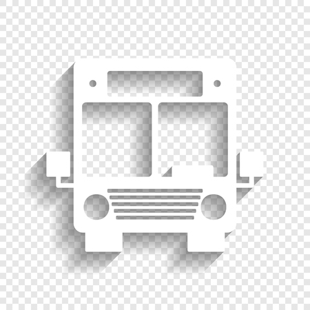 Bus sign illustration. Vector. White icon with soft shadow on transparent background.