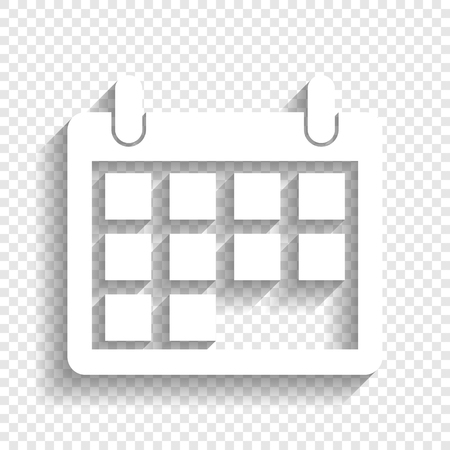 Calendar sign illustration. Vector. White icon with soft shadow on transparent background. Illustration
