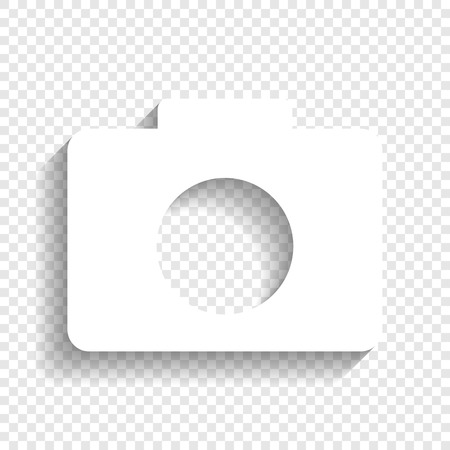 Digital camera sign. Vector. White icon with soft shadow on transparent background. Çizim