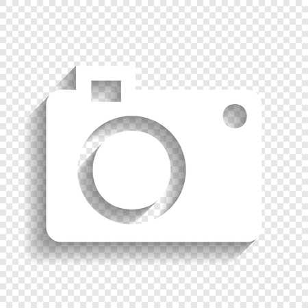 Digital camera sign. Vector. White icon with soft shadow on transparent background. Illustration