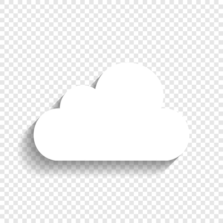 Cloud sign illustration. Vector. White icon with soft shadow on transparent background.