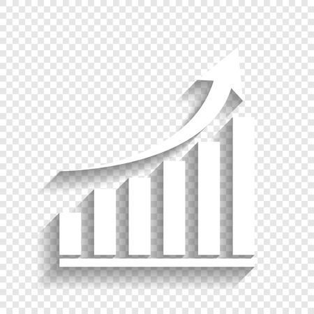 Growing graph sign. Vector. White icon with soft shadow on transparent background.