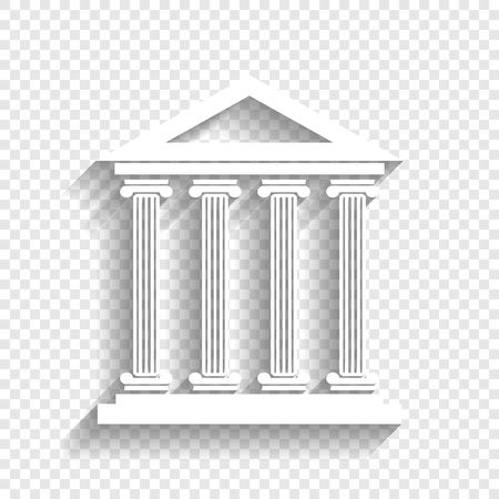 roman column: Historical building illustration. Vector. White icon with soft shadow on transparent background. Illustration