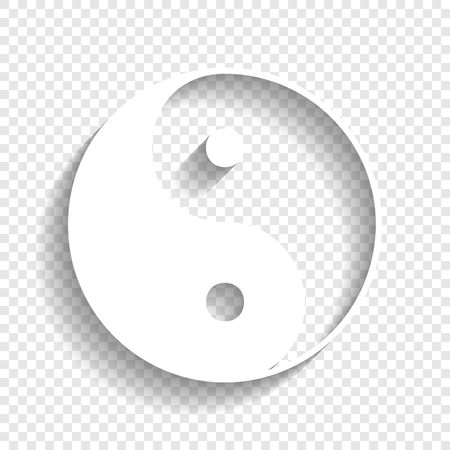 Ying yang symbol of harmony and balance. Vector. White icon with soft shadow on transparent background. Çizim